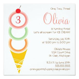 Invitación del cumpleaños del helado