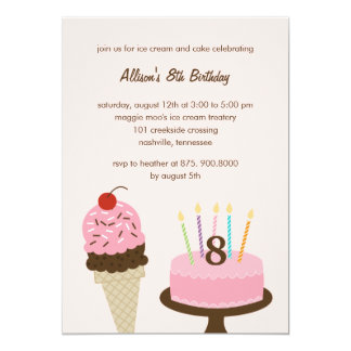 Invitación del cumpleaños del helado y de la torta invitación 12,7 x 17,8 cm