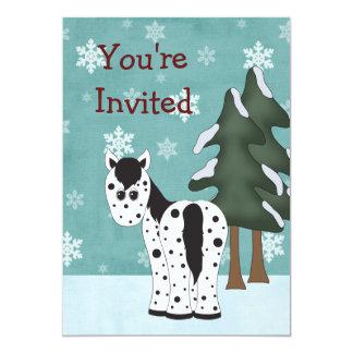 Invitación del cumpleaños del invierno del caballo