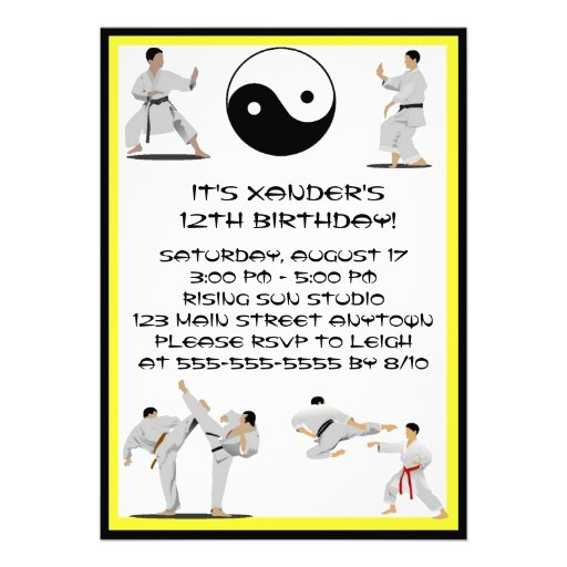 Invitación del cumpleaños del karate