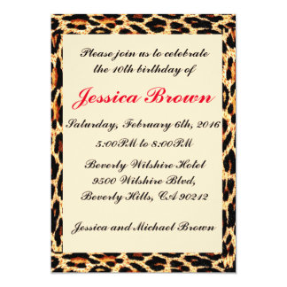 Invitación del cumpleaños del marco del leopardo