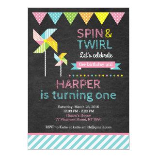 Invitación del cumpleaños del molinillo de viento