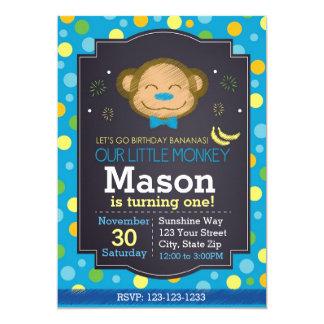 Invitación del cumpleaños del mono (azul)