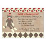 Invitación del cumpleaños del mono del calcetín