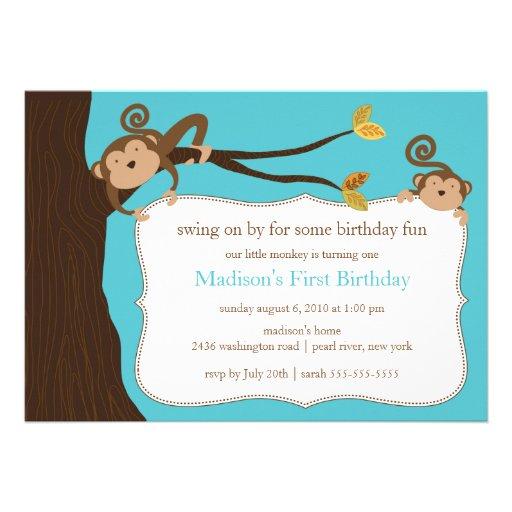 Invitación del cumpleaños del mono del safari
