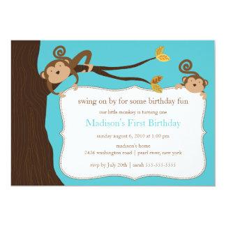 Invitación del cumpleaños del mono del safari invitación 12,7 x 17,8 cm