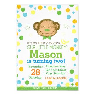 Invitación del cumpleaños del mono (verde)