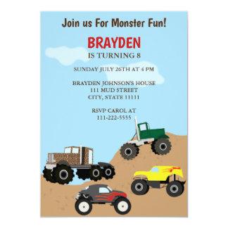 Invitación del cumpleaños del monster truck de los