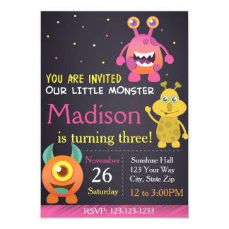 Invitación del cumpleaños del monstruo (chica)