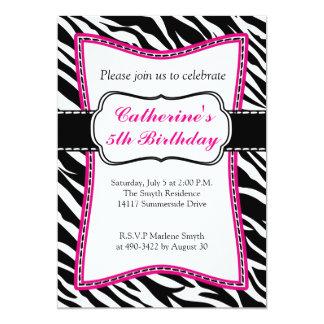 Invitación del cumpleaños del niño de la cebra de