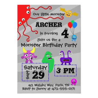 Invitación del cumpleaños del niño del monstruo