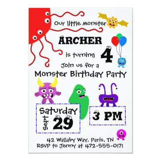 Invitación del cumpleaños del niño del monstruo -