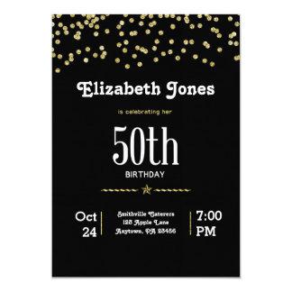 Invitación del cumpleaños del oro del brillo 50.a
