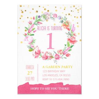 Invitación del cumpleaños del oro y del chica