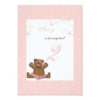 Invitación del cumpleaños del oso de la bailarina