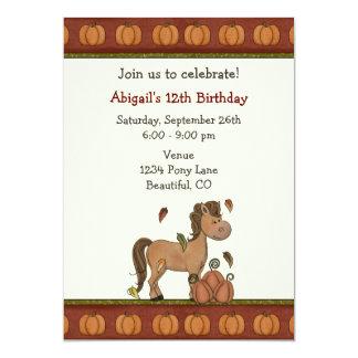 Invitación del cumpleaños del otoño del caballo y