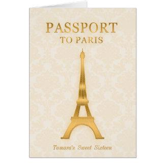 Invitación del cumpleaños del pasaporte del oro tarjeta pequeña