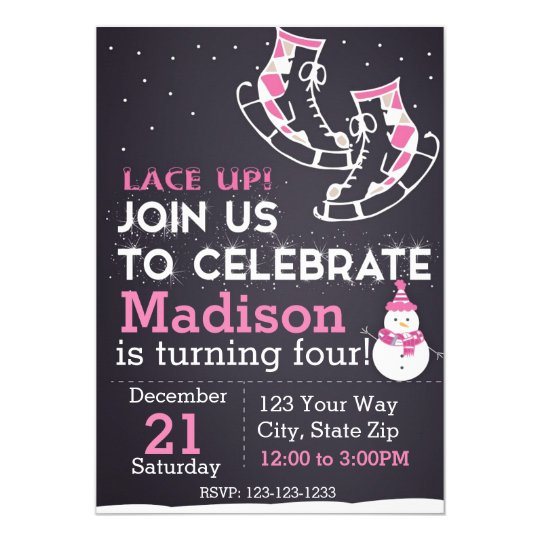 Invitación del cumpleaños del patín de hielo
