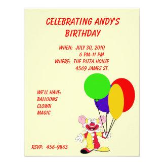 Invitación del cumpleaños del payaso del niño