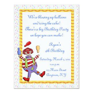 Invitación del cumpleaños del payaso que hace