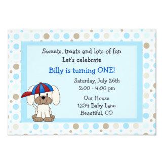 Invitación del cumpleaños del perrito del béisbol