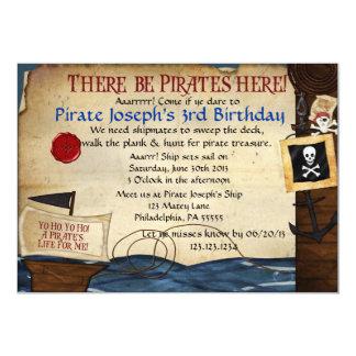 Invitación del cumpleaños del pirata invitación 12,7 x 17,8 cm