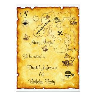 Invitación del cumpleaños del pirata invitación 13,9 x 19,0 cm