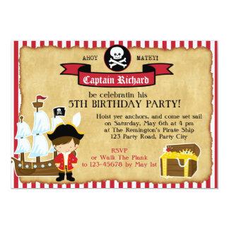 Invitación del cumpleaños del pirata (con la nave