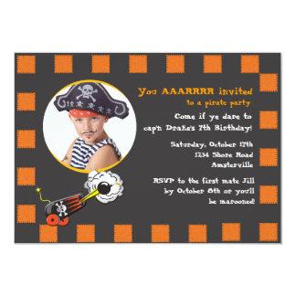 Invitación del cumpleaños del pirata de Halloween Invitación 12,7 X 17,8 Cm