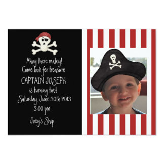 Invitación del cumpleaños del pirata de la imagen invitación 12,7 x 17,8 cm