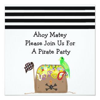 Invitación del cumpleaños del pirata del cofre del