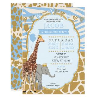 Invitación del cumpleaños del safari - azul