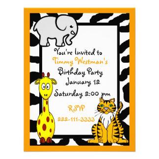Invitación del cumpleaños del safari de la fauna