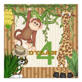 Invitación del cumpleaños del safari de la selva