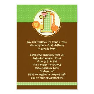 Invitación del cumpleaños del safari de selva invitación 12,7 x 17,8 cm