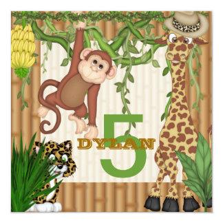 Invitación del cumpleaños del safari de selva PARA