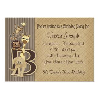 Invitación del cumpleaños del safari en marrones