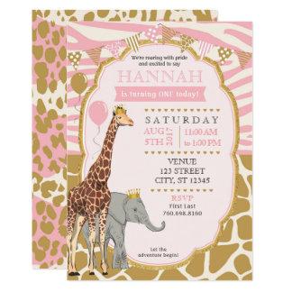 Invitación del cumpleaños del safari - rosa