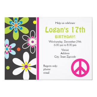 Invitación del cumpleaños del signo de la paz - invitación 12,7 x 17,8 cm