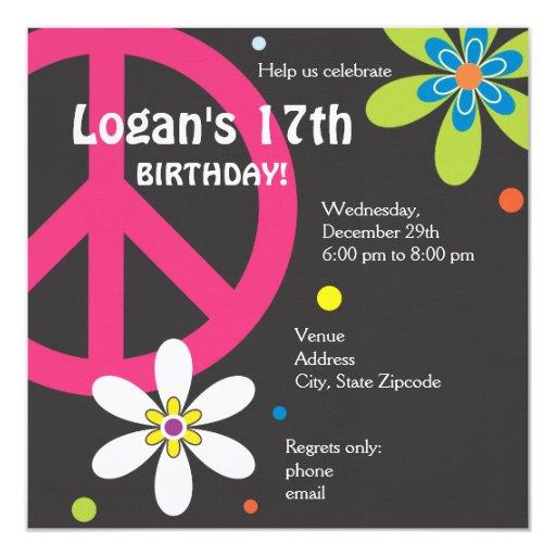 Invitación del cumpleaños del signo de la paz -