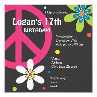 Invitación del cumpleaños del signo de la paz - ad