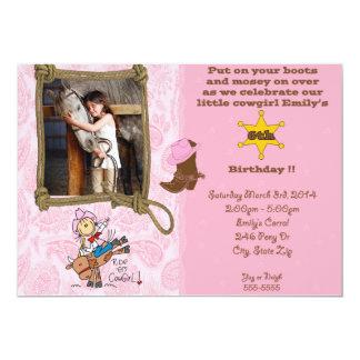 Invitación del cumpleaños del tema de la vaquera invitación 12,7 x 17,8 cm