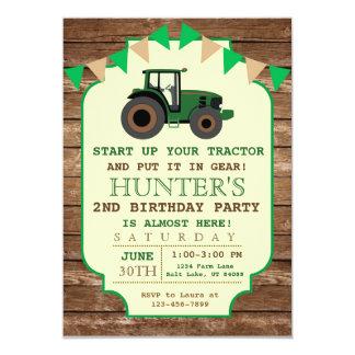 Invitación del cumpleaños del tractor, cumpleaños
