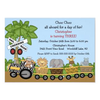 Invitación del cumpleaños del tren de la selva del