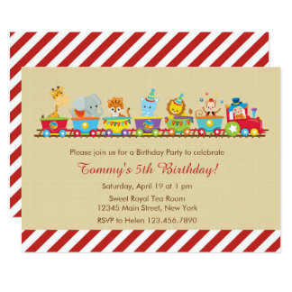 Invitación del cumpleaños del tren del circo