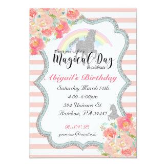 Invitación del cumpleaños del unicornio del arco