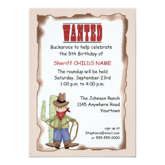 Invitación del cumpleaños del vaquero
