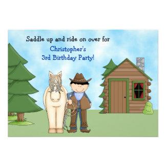 Invitación del cumpleaños del vaquero, del caballo