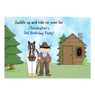 Invitación del cumpleaños del vaquero del caballo