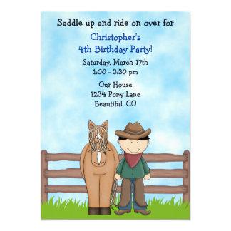 Invitación del cumpleaños del vaquero y del invitación 12,7 x 17,8 cm